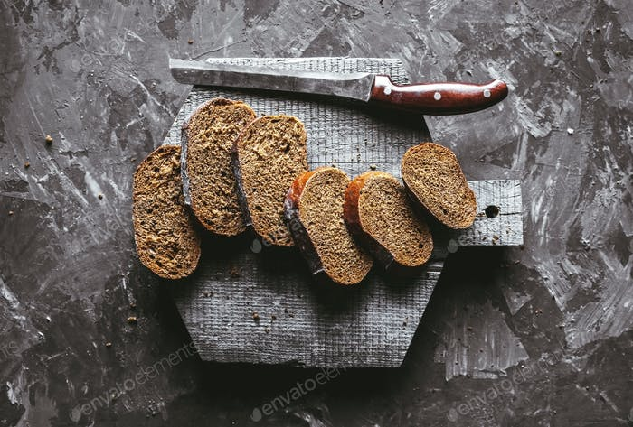 Geschnitten Rund Kein Kneten Rustikales Brot, quadratisch