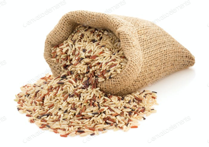 rice in sack bag on white