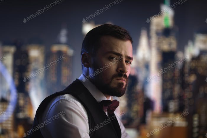 Man in Suit at Night