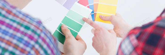 People comparing paint colors