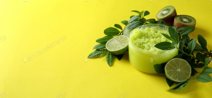 Skin care scrub concept on yellow background