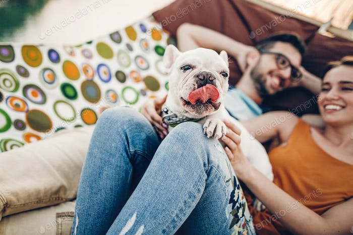 Hipster couple with bulldog relaxing in hammock on the beach in sunset light