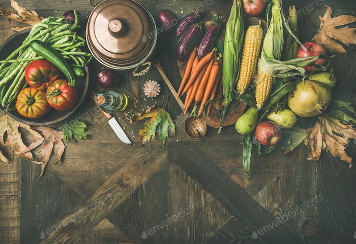Autumn healthy ingredients for Thanksgiving day dinner, copy space