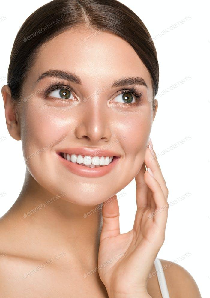 Healthy teeth smile woman beauty skin cosmetic spa portrait
