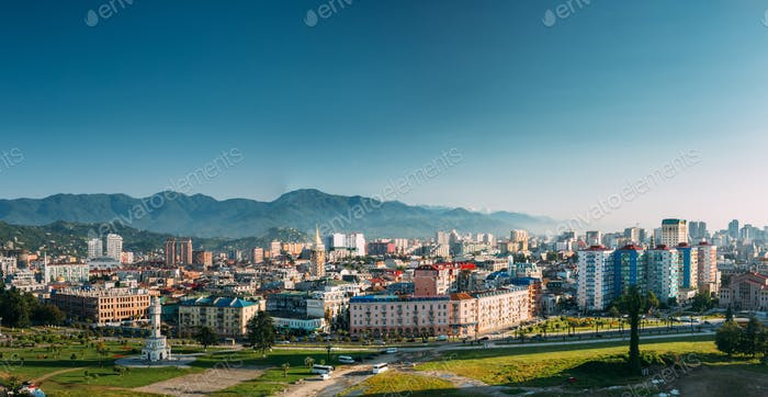 Cityscape Of Georgian Resort Town Of Batumi. Different Colored H