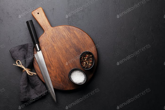 Blank cutting board, knife and spices