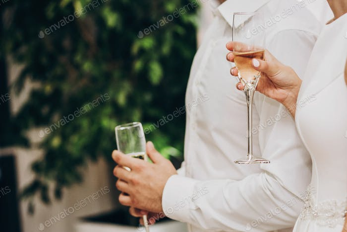 Stylish wedding couple holding champagne glasses