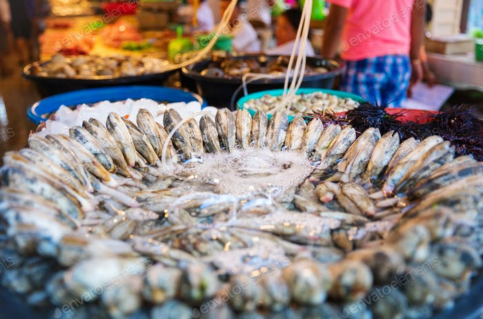 Shellfish for sale at asian market