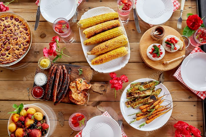 Dinner table, top view, family dinner or lunch, eating concept