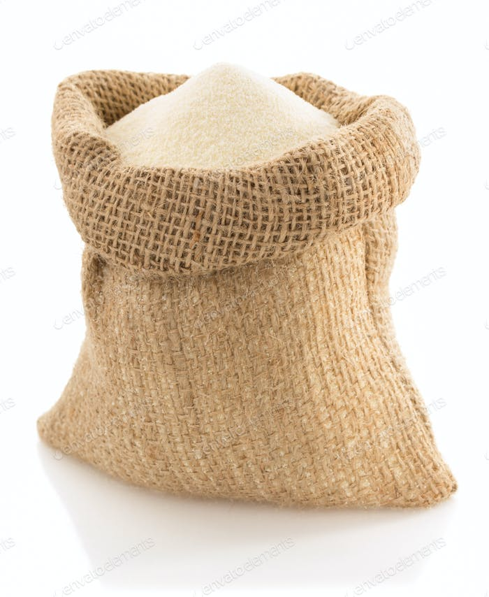 semolina in bag on white