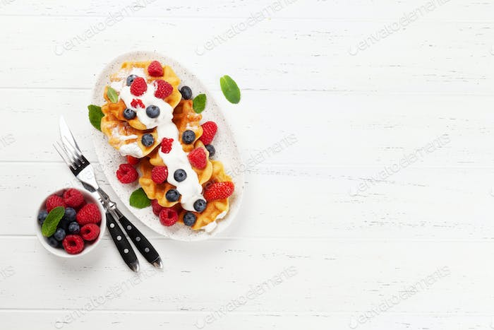 Delicious belgian waffles with summer berries