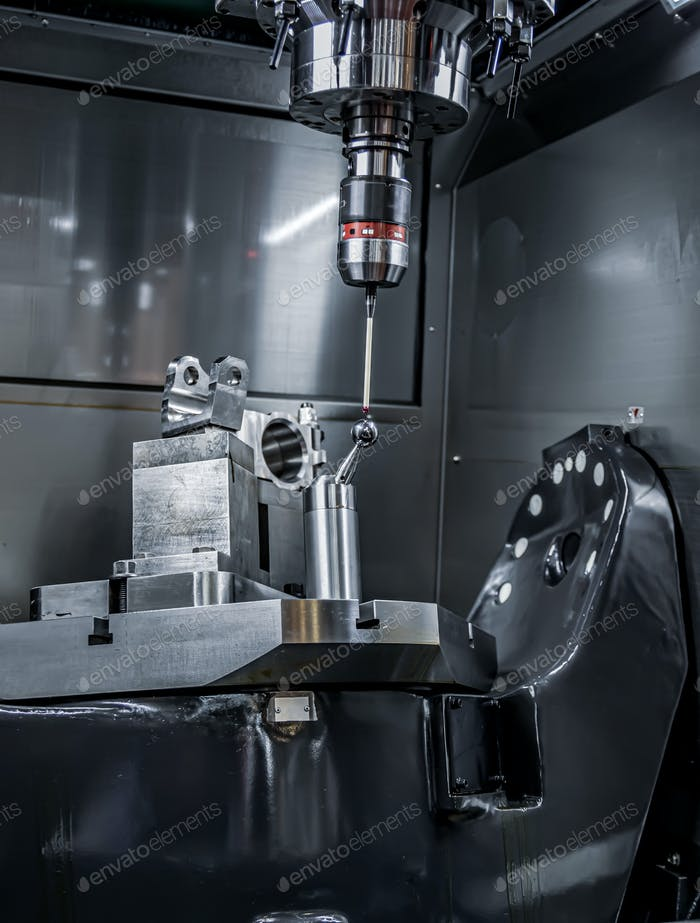 Quality control measurement probe. Metalworking CNC milling mach