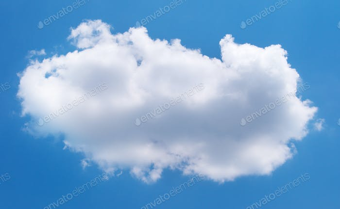 Single one white cloud in blue sky.