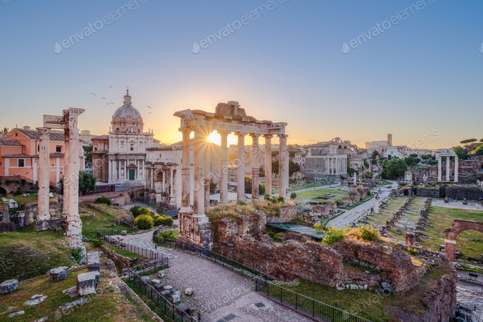 Scenic view of Roman Forum at sunrise, Rome