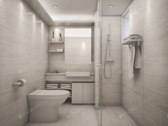3D Rendering white clean bathroom