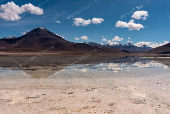 Reflection of a volcano in the southwest of the Andean Highlands