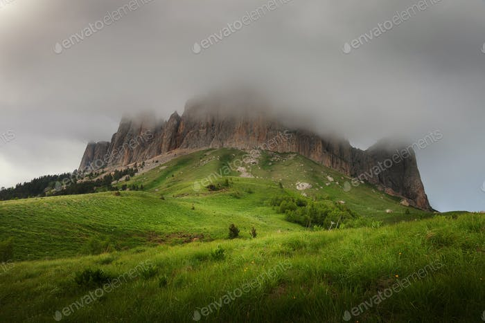 Mountain Big Thach in spring greens and clouds