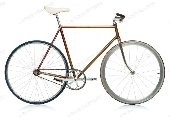 Stylish hipster bicycle isolated on white