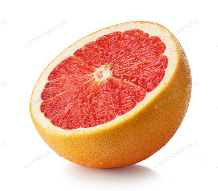 half of ripe red grapefruit