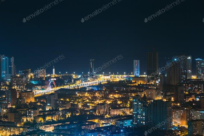 Batumi, Adjara, Georgia. Aerial View Of Urban Cityscape Skyline At Night