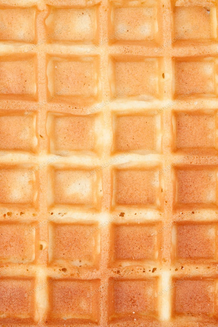 Extreme close up of a waffle