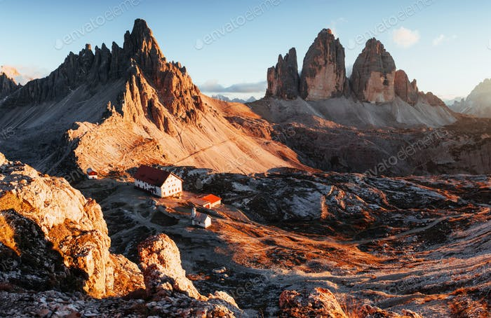 Good weather. Outstanding landscape of the majestic Seceda dolomite mountains at daytime