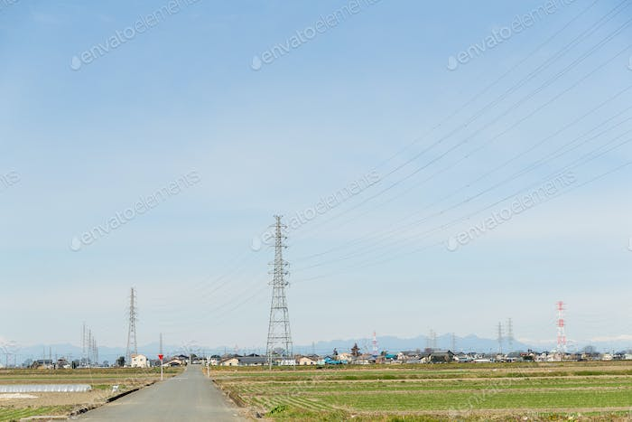 Power tower in countryside