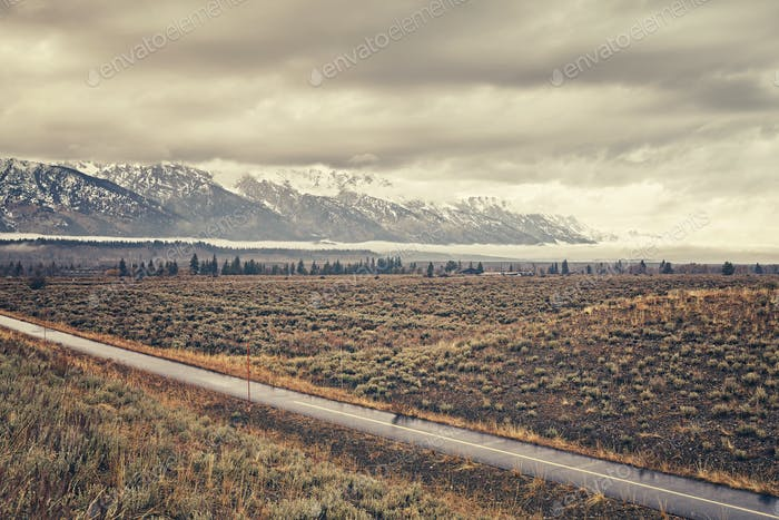 Vintage stylized scenic road in the Grand Teton National Park, W