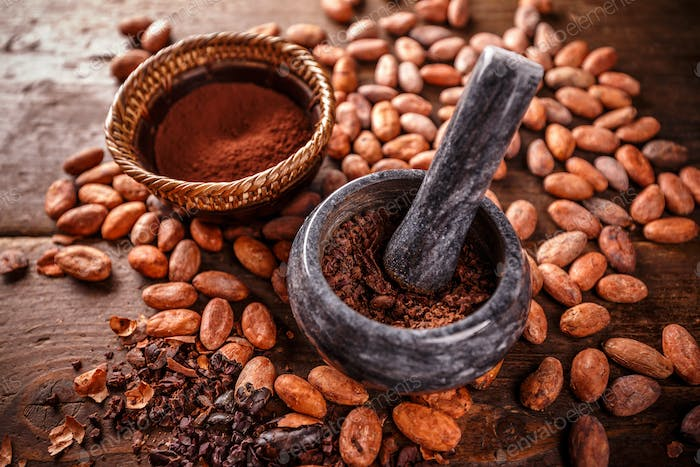 Crushed cacao beans