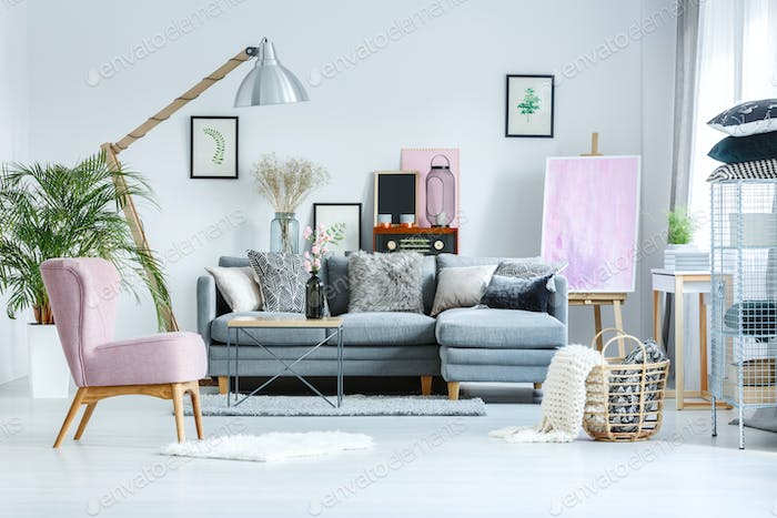 Pastel studio with pink painting
