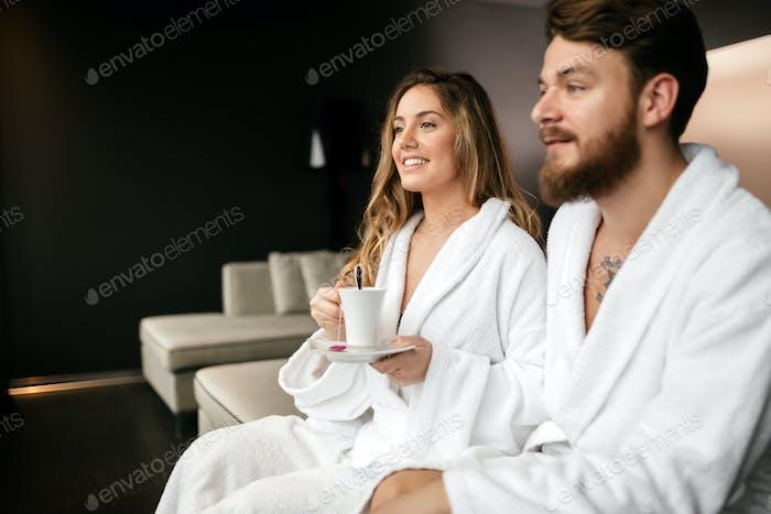 Romantic couple enjoying honeymoon escape