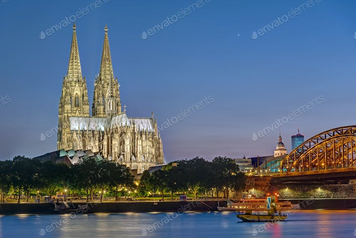 The famous Cologne Cathedral and the river Rhine