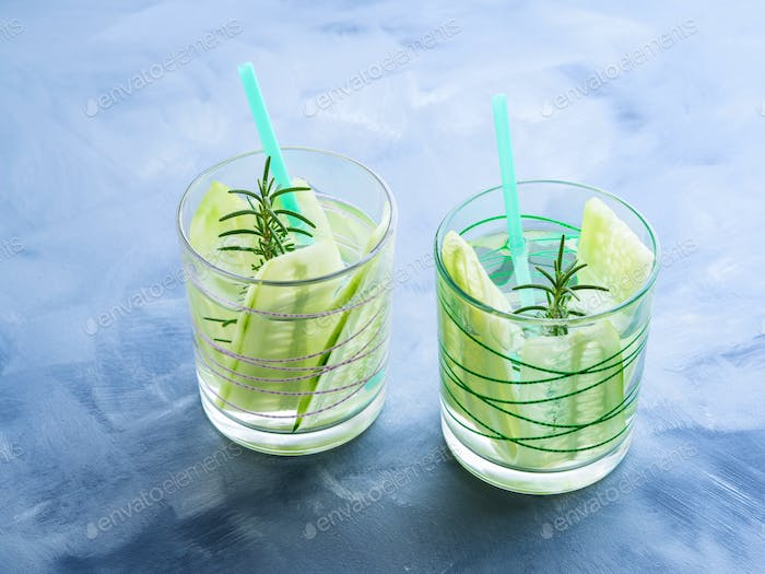 Infused water with cucumber and rosemary