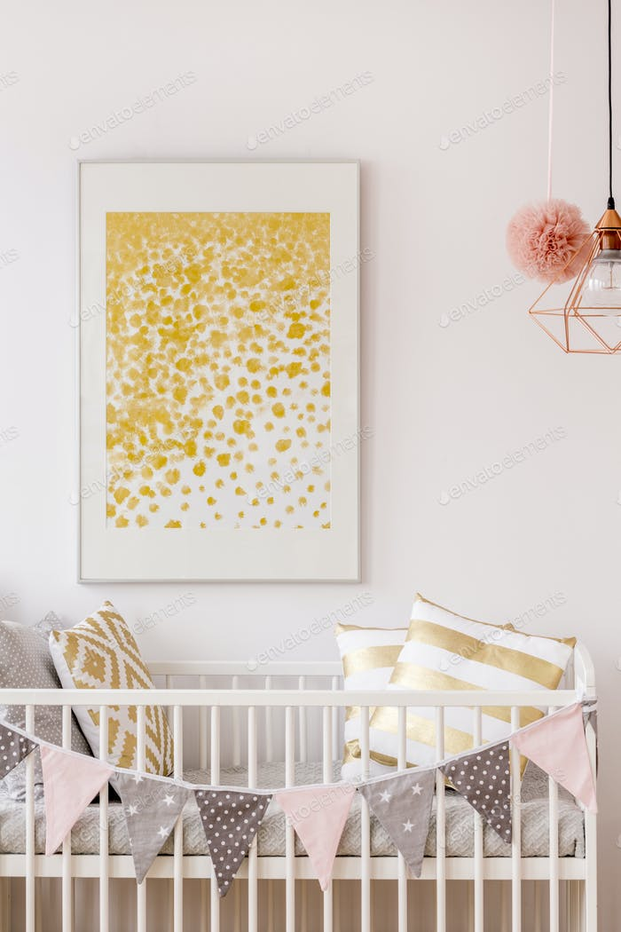 Newborn bedroom with white cot