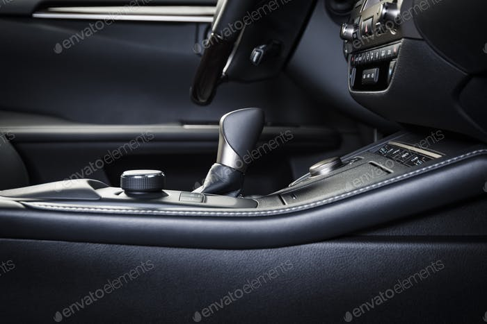 Automatic transmission selector in modern car interior