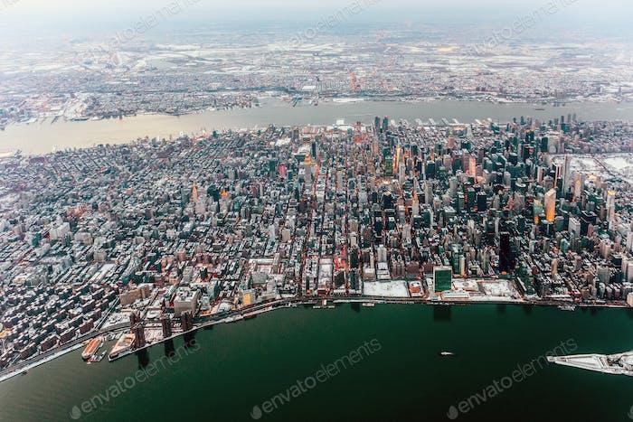 Vista aérea del paisaje urbano de Nueva York, Nueva York, Estados Unidos