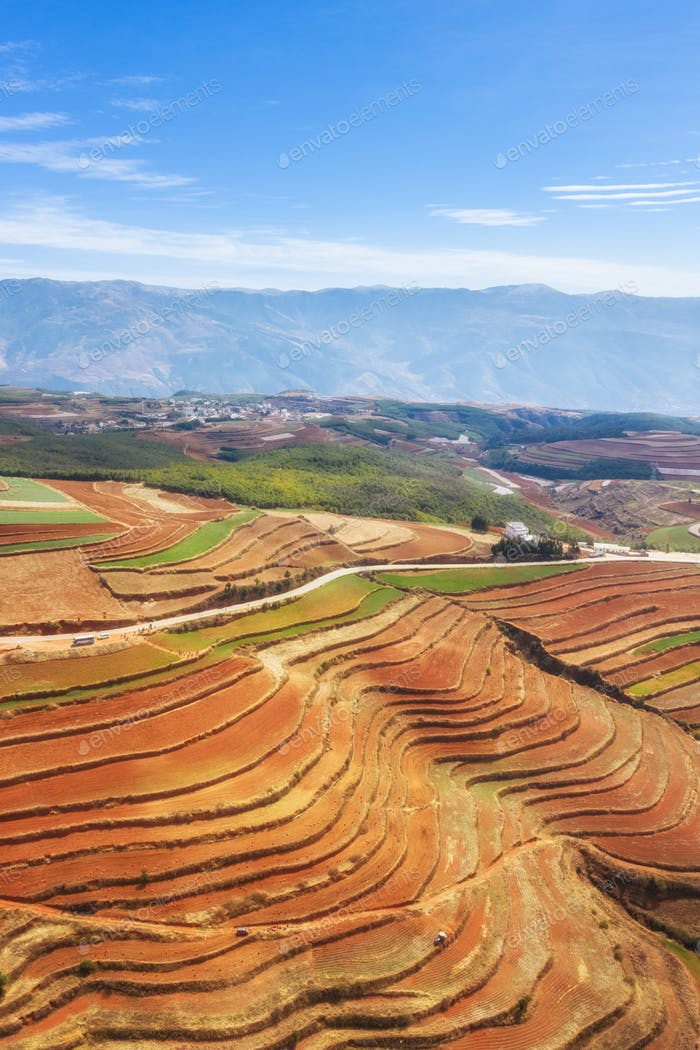 beautiful yunnan red land scenery