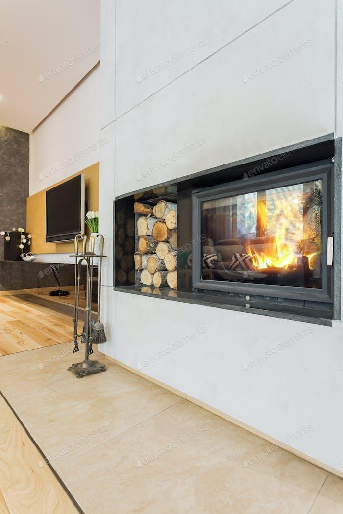 Modern minimalist fireplace in villa