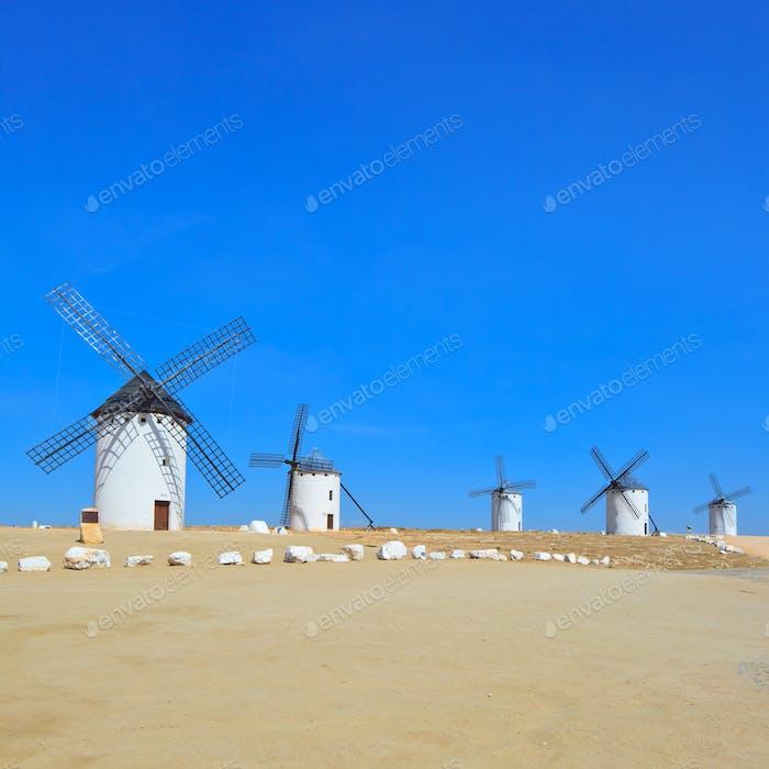 Five windmills. Castile La Mancha, Spain.