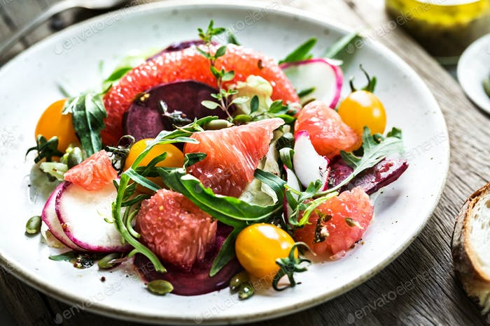 Pomelo with Beetroot, Radish,Cherry Tomato and Rocket Salad
