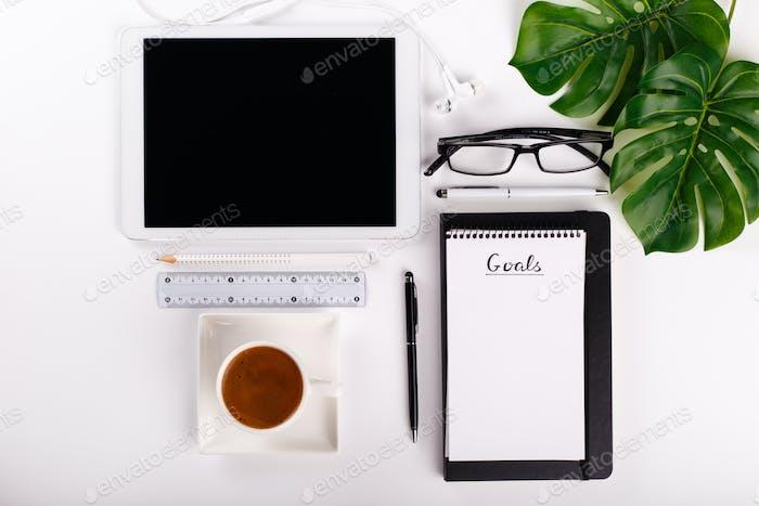Modern white office desk
