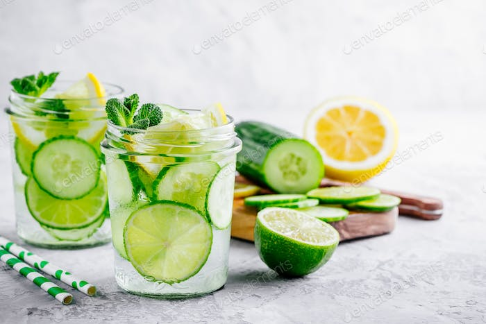 Infused detox water with cucumber, lemon and lime.