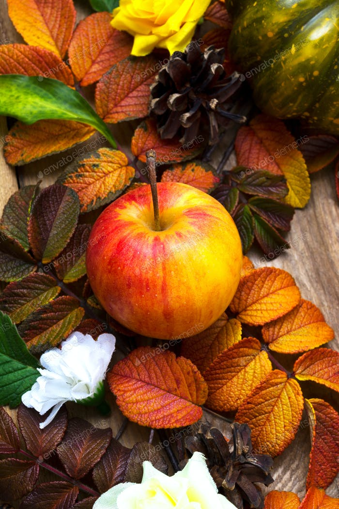 Thanksgiving background with ripe apple