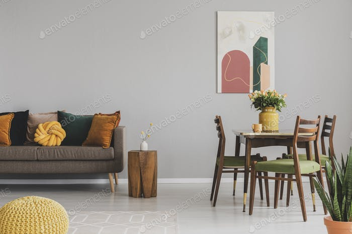 Vintage living and dining room interior with retro table with ch Foto von  bialasiewicz auf Envato Elements