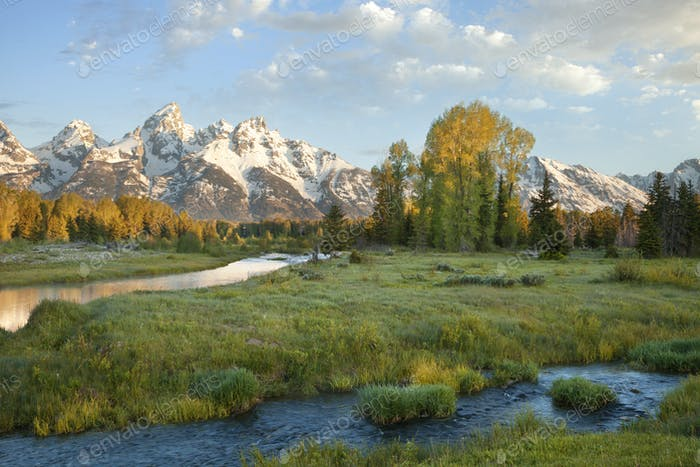 Grand Teton Mountains and Snake River in Morning Light