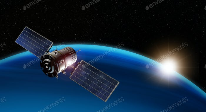3d illustration of satellite orbiting the earth