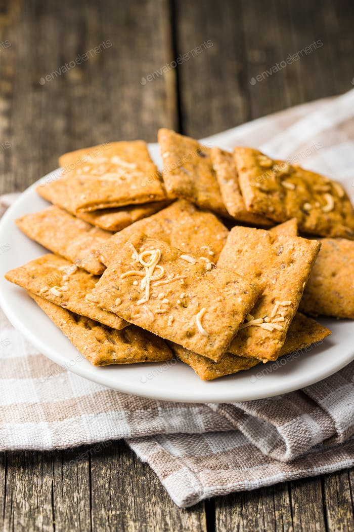 Salted crispy crackers.