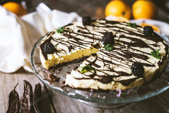 Vegan orange  cake with carob