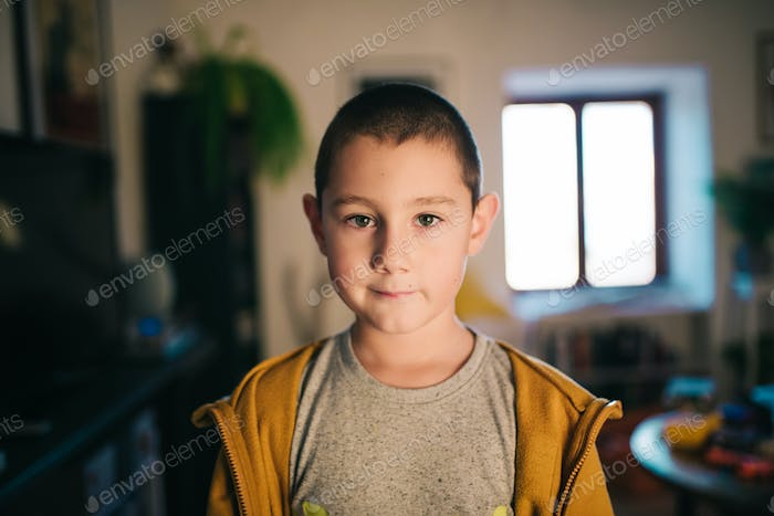Boy in his home