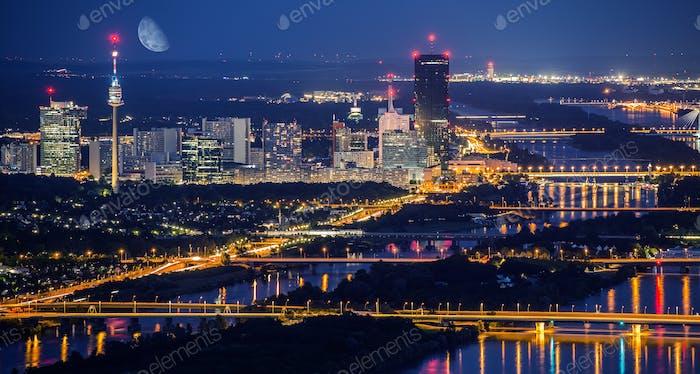 Vienna City Skyline at Night
